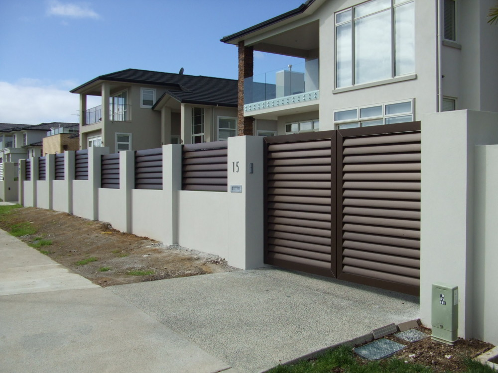 Architectural Series Louvre 120mm Infill Double Swing Gate and Fence Panel