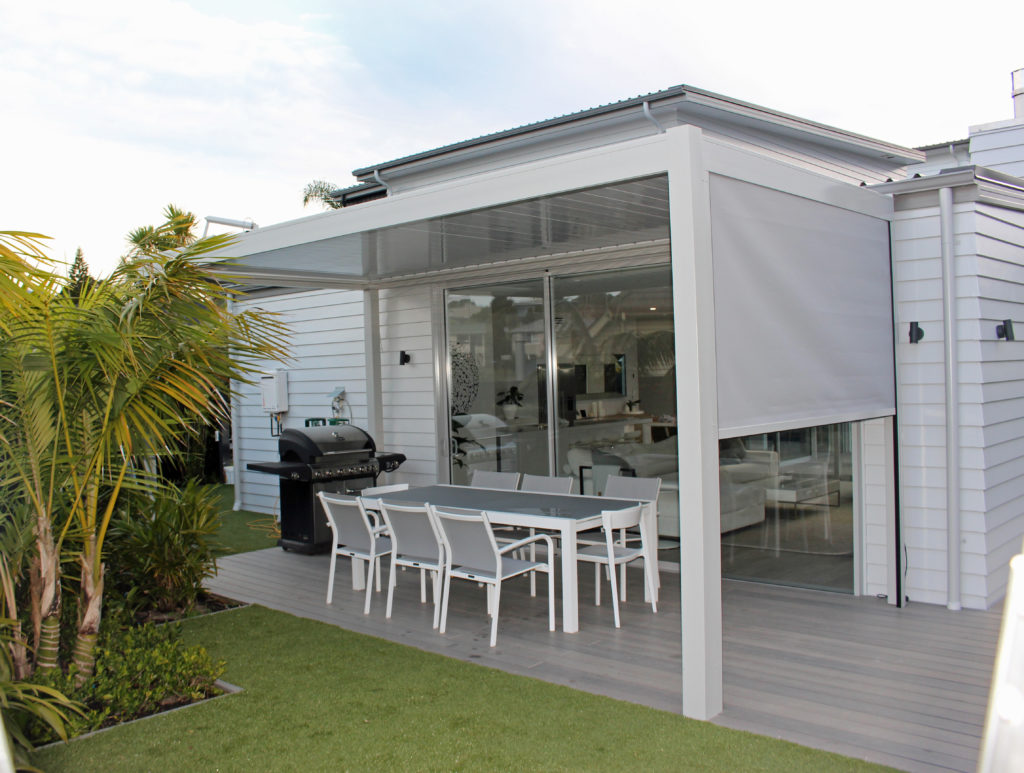BASK Freestanding Louvre Roof with Solarzip Drop Down Awning