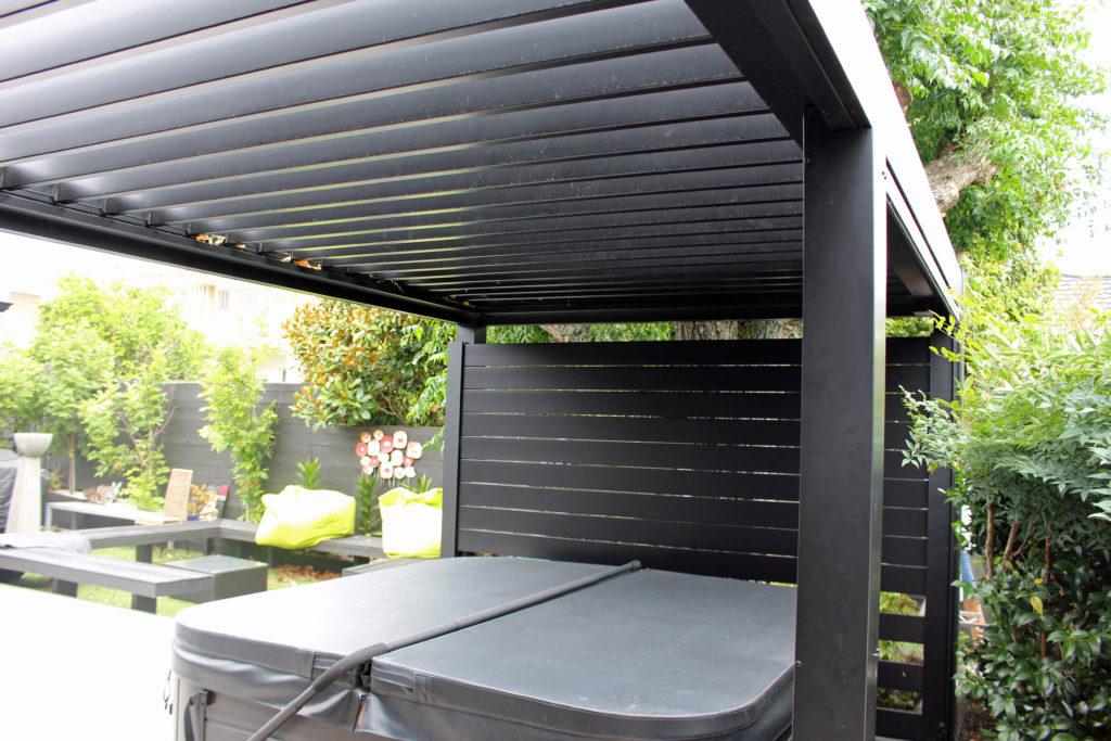 BASK Louvre Roof & aluminium slat screen in spa pool area